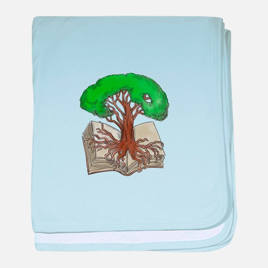 Tree Rooted on Book Tattoo baby blanket