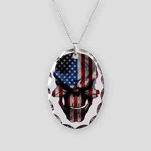 flag_skull_dark_Flag_Large Necklace Oval Charm