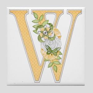 Monogram Letter W Tile Coaster