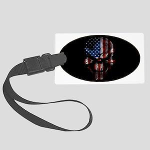 flag_skull_dark_Oval_Tailgate Large Luggage Tag
