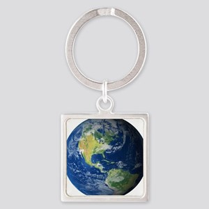 Planet Earth Square Keychain