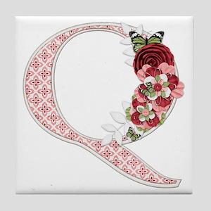 Monogram Letter Q Tile Coaster