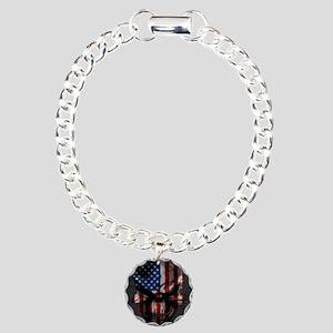 flag_skull_dark_Flag_Squ Charm Bracelet, One Charm