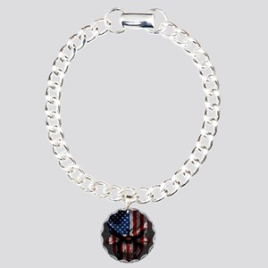 Flag Skull Dark Squ Charm Bracelet One