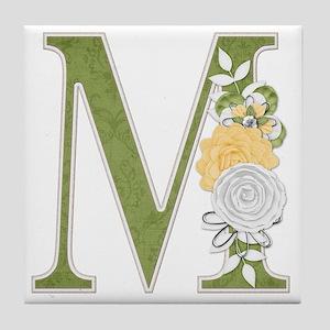 Monogram Letter M Tile Coaster