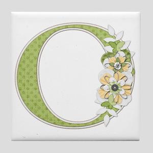 Monogram Letter O Tile Coaster