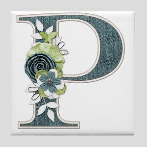 Monogram Letter P Tile Coaster