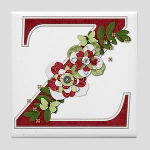 Monogram Letter Z Tile Coaster