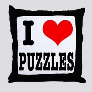 I Heart (Love) Puzzles Throw Pillow