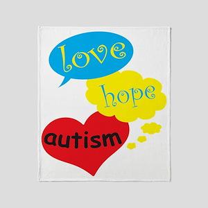 Love,hope,Autism Throw Blanket