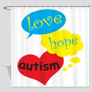 Love,hope,Autism Shower Curtain