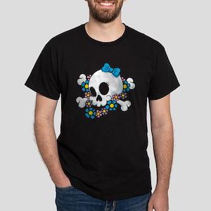 Flower Power Skull Dark T-Shirt