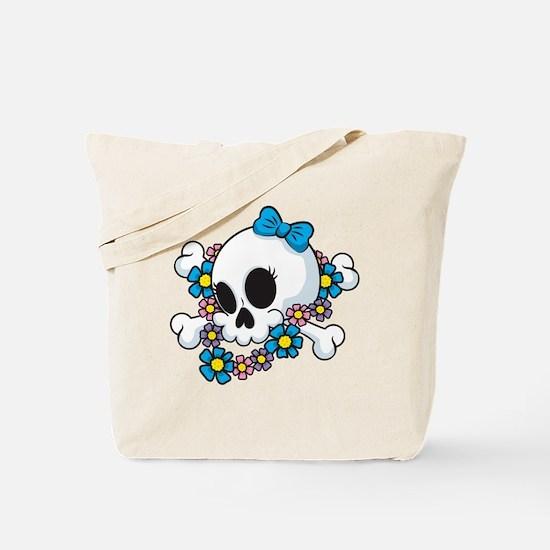 Flower Power Skull Tote Bag