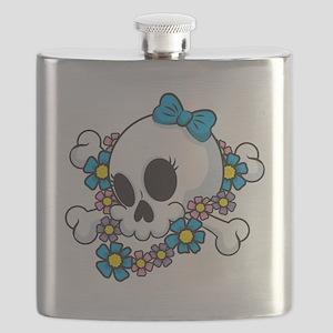Flower Power Skull Flask