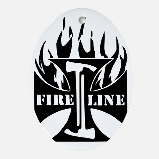 Fire Line Pulaski Iron Cross Oval Ornament