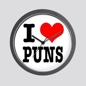 I Heart (Love) Puns Wall Clock