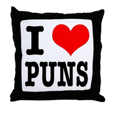 I Heart (Love) Puns Throw Pillow