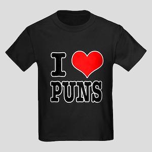 I Heart (Love) Puns Kids Dark T-Shirt
