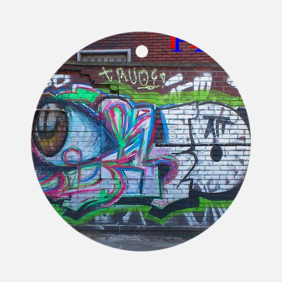 Wall spray painting art in Paris (S Round Ornament