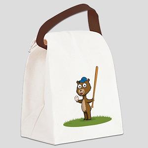 Bear Baseball Player Canvas Lunch Bag