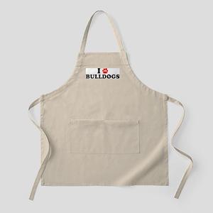 I Heart (Pawprint) Bulldogs BBQ Apron