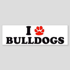 I Heart (Pawprint) Bulldogs Bumper Sticker
