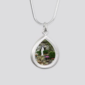 Our Lady of Lourdes Shri Silver Teardrop Necklace
