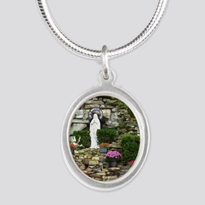 Our Lady of Lourdes Shrine in Silver Oval Necklace