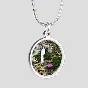 Our Lady of Lourdes Shrine i Silver Round Necklace