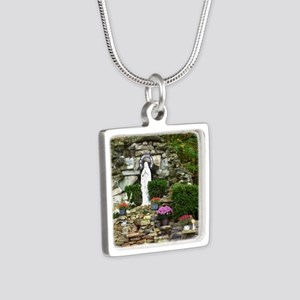 Our Lady of Lourdes Shrine Silver Square Necklace