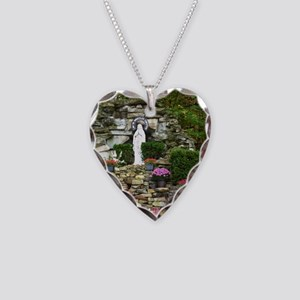 Our Lady of Lourdes Shrine in Necklace Heart Charm