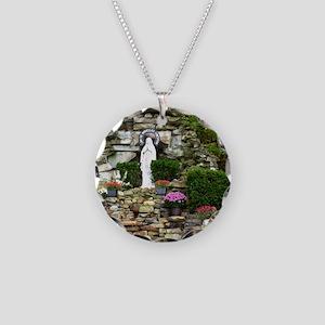 Our Lady of Lourdes Shrine i Necklace Circle Charm