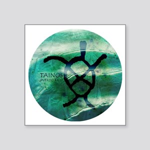 """Taino Turtle Symbol Square Sticker 3"""" x 3"""""""