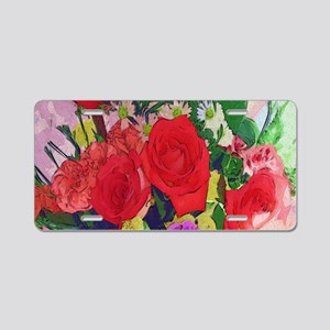 Painted Roses Aluminum License Plate
