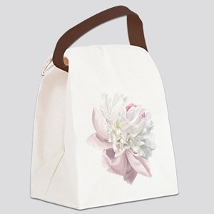 Elegant White Peony Canvas Lunch Bag