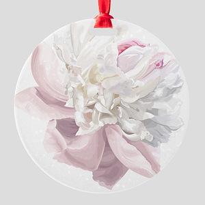 Elegant White Peony Round Ornament