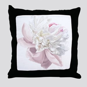 Elegant White Peony Throw Pillow