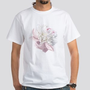 Elegant White Peony White T-Shirt