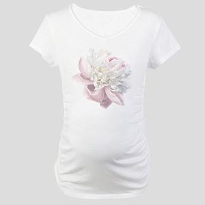 Elegant White Peony Maternity T-Shirt