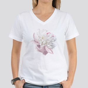 Elegant White Peony Women's V-Neck T-Shirt