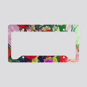 Painted Roses License Plate Holder