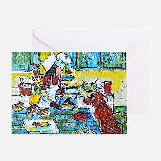 Dog in the Kitchen Greeting Card