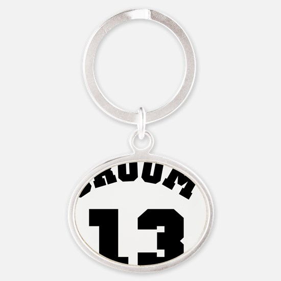 Groom 13 Black Oval Keychain