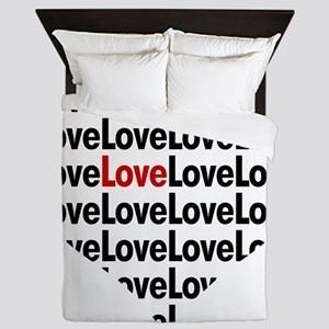 Heart shaped love in red and black Queen Duvet