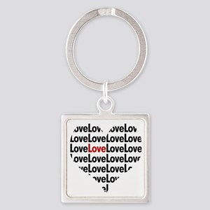 Heart shaped love in red and black Square Keychain