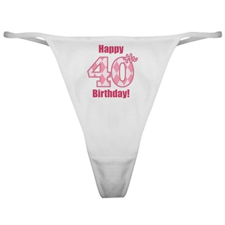 Happy 40th Birthday - Pink Argyle Classic Thong