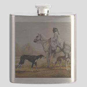 Arabian Bedouin Hunting with Two Salukis Flask