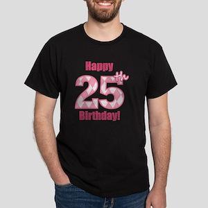 Happy 25th Birthday - Pink Argyle Dark T-Shirt
