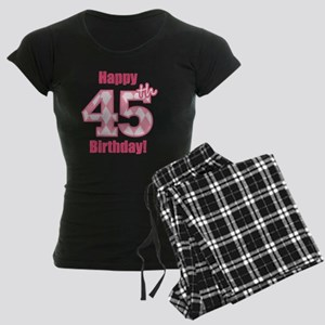 Happy 45th Birthday - Pink A Women's Dark Pajamas