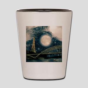 one starry night on paris Shot Glass